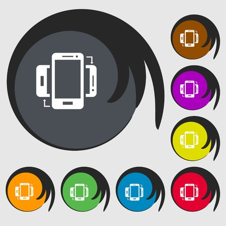 sync: Synchronization sign icon. smartphones sync symbol. Data exchange. Symbols on eight colored buttons. illustration Stock Photo