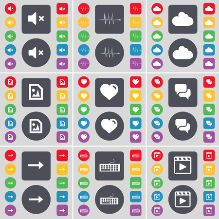 keyboard player: Mute, Pulse, Cloud, Media file, Heart, Chat, Arrow right, Keyboard, Media player icon symbol. A large set of flat, colored buttons for your design. illustration