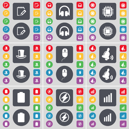 silk hat: Notebook, Headphones, Processor, Silk hat, Mouse, Bell, Battery, Flash, Diagram icon symbol. A large set of flat, colored buttons for your design. illustration
