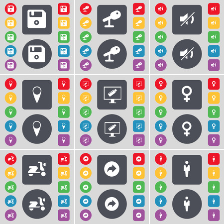 venus symbol: Floppy, Microscope, Mute, Checkpoint, Monitor, Venus symbol, Scooter, Back, Silhouette icon symbol. A large set of flat, colored buttons for your design. illustration