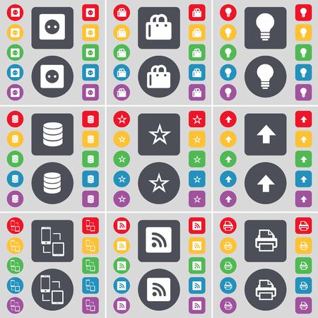 enchufe de luz: Z�calo, la bolsa de compras, Bombilla, base de datos, estrella, flecha arriba, Conexi�n, RSS, icono de la impresora s�mbolo. Un gran conjunto de botones planos, de color para su dise�o. ilustraci�n