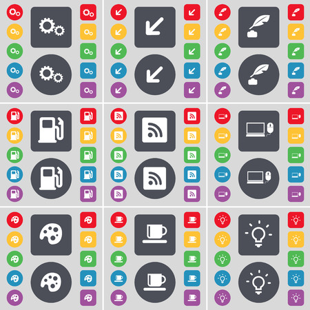 ink pot: Gear, Deploying screen, Ink pot, Gas station, RSS, Laptop, Palette, Cup, Light bulb icon symbol. A large set of flat, colored buttons for your design. illustration