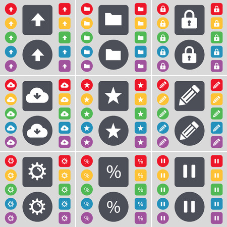 folder lock: Arrow up, Folder, Lock, Cloud, Star, Pencil, Gear, Pencil, Pause icon symbol. A large set of flat, colored buttons for your design. illustration Stock Photo