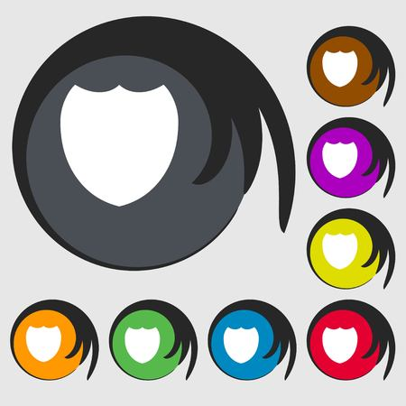 security token: Shield sign icon. Protection symbol. Symbols on eight colored buttons. illustration Stock Photo