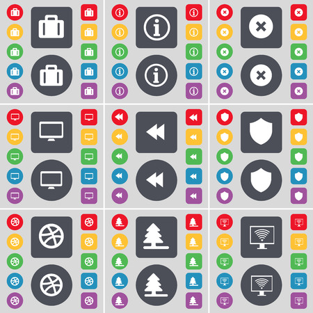 firtree: Suitcase, Information, Stop, Monitor, Rewind, Badge, Ball, Firtree, Monitor icon symbol. A large set of flat, colored buttons for your design. illustration