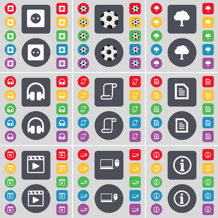 media player: Socket, Ball, Tree, Headphones, Scroll, Text file, Media player, Laptop, Information icon symbol. A large set of flat, colored buttons for your design. illustration Stock Photo