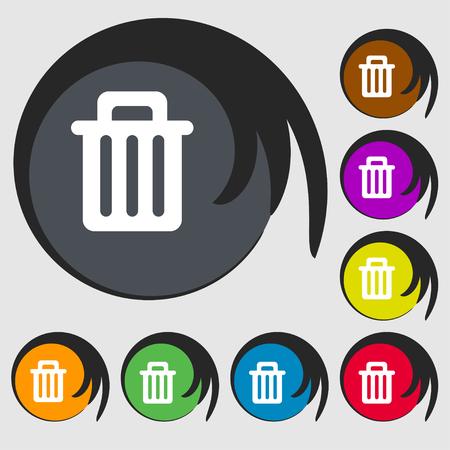papelera de reciclaje: Reciclar el icono signo bin. S�mbolo en ocho botones de colores. ilustraci�n