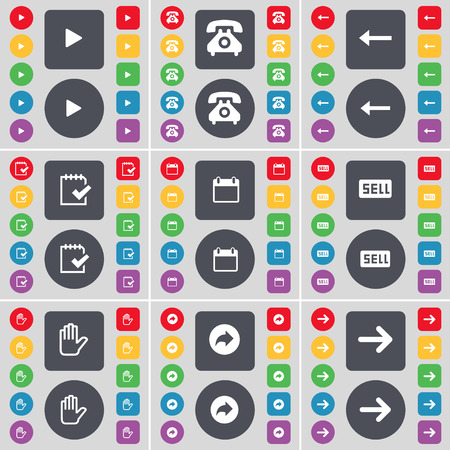 arrow right icon: Media play, Retro phone, Arrow left, Survey, Calendar, Sell, Hand, Back, Arrow right icon symbol. A large set of flat, colored buttons for your design. illustration
