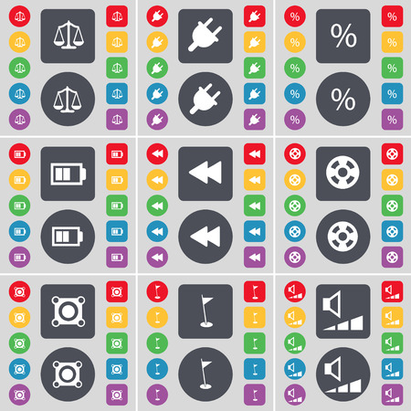videotape: Scales, Socket, Percent, Battery, Rewind, Videotape, Speaker, Golf hole, Volume icon symbol. A large set of flat, colored buttons for your design. illustration