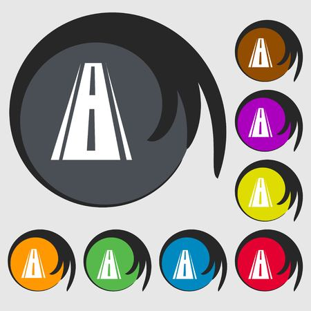 bitumen: Road icon sign. Symbols on eight colored buttons. illustration Stock Photo