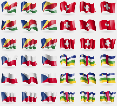 czech switzerland: Seychelles, Switzerland, Czech Republic, Central African Republic. Set of 36 flags of the countries of the world. illustration