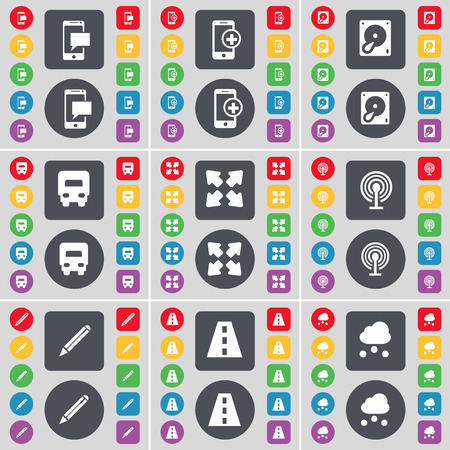 full screen: SMS, Smartphone, Hard drive, Truck, Full screen, Wi-Fi, Pencil, Road, Cloud icon symbol. A large set of flat, colored buttons for your design. illustration