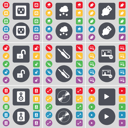 usb disk: Socket, Cloud, USB, Lock, Microphone connector, Picture, Speaker, Disk, Media play icon symbol. A large set of flat, colored buttons for your design. illustration