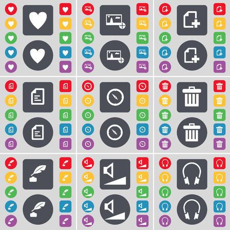 ink pot: Heart, Picture, File, Text file, Compass, Trash can, Ink pot, Volume, Headphones icon symbol. A large set of flat, colored buttons for your design. illustration
