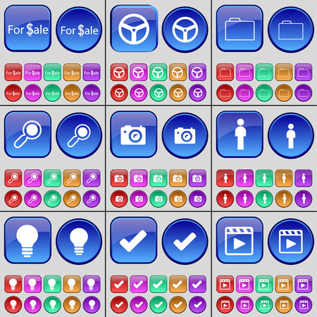 media player: For Sale, Wheel, Folder, Magnifying glass, Camera, Silhouette, Light bulb, Tick, Media player. A large set of multi-colored buttons. illustration