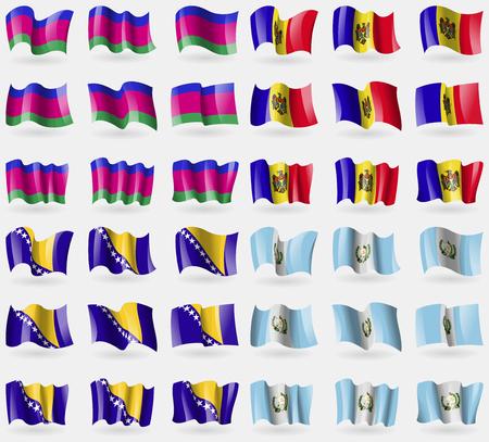 kuban: Kuban Republic, Moldova, Bosnia and Herzegovina, Guatemala. Set of 36 flags of the countries of the world. illustration