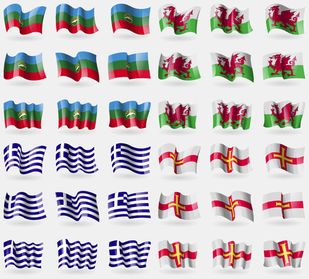 guernsey: KarachayCherkessia, Wales, Greece, Guernsey. Set of 36 flags of the countries of the world. illustration