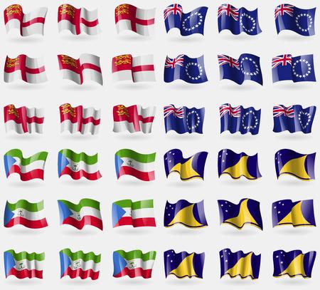 equatorial guinea: Sark, Cook Islands, Equatorial Guinea, Tokelau. Set of 36 flags of the countries of the world. illustration