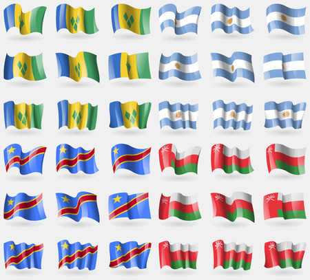 grenadines: Saint Vincent and Grenadines, Argentina, Congo Democratic Republic, Oman. Set of 36 flags of the countries of the world. illustration