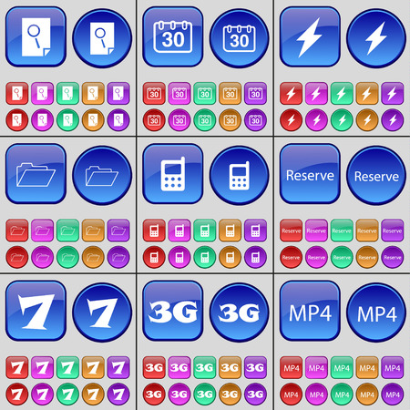 reserve: File, Calendar, Flash, Folder, Mobile phone, Reserve, Seven, 3G, MP4. A large set of multi-colored buttons. illustration Stock Photo