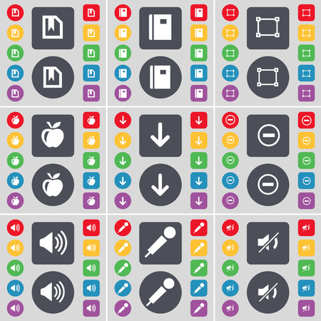arrow down: File, Notebook, Frame, Apple, Arrow down, Minus, Sound, Microphone, Mute icon symbol. A large set of flat, colored buttons for your design. illustration