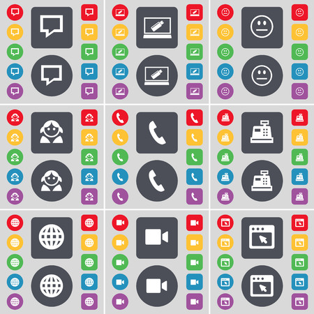chat window: Chat bubble, Laptop, Smile, Avatar, Receiver, Cash register, Globe, Film camera, Window icon symbol. A large set of flat, colored buttons for your design. illustration