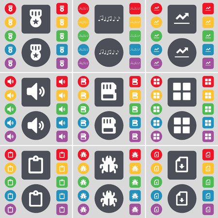 sound card: Media, Note, Graph, Sound, SIM card, Apps, Survey, Bug, File icon symbol. A large set of flat, colored buttons for your design. illustration