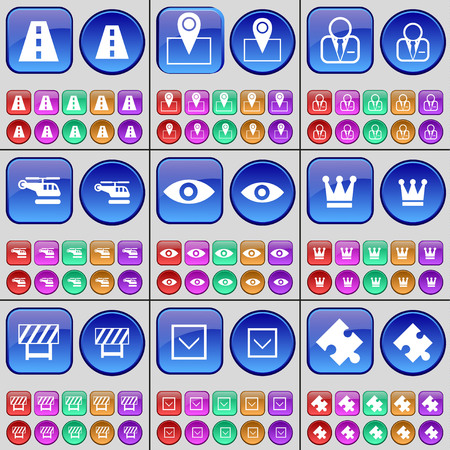 checkpoint: Road, Checkpoint, Avatar, Helicopter, Vision, Crown, Barrier, Arrow down, Puzzle. A large set of multi-colored buttons. illustration Stock Photo