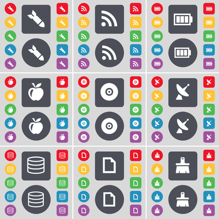 dish disk: Rocket, RSS, Battery, Apple, Disk, Satellite dish, Database, File, Brush icon symbol. A large set of flat, colored buttons for your design. illustration