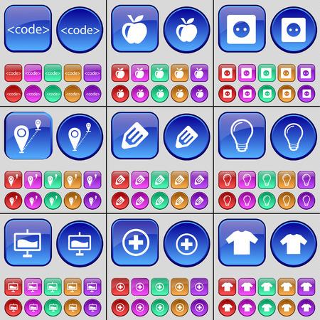 enchufe de luz: Code, Apple, Socket, Route, Pencil, Light bulb, Graph, Plus, T-Shirt. A large set of multi-colored buttons. illustration Foto de archivo
