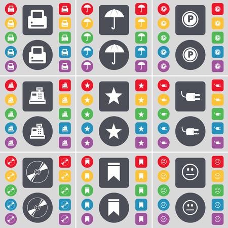 parking disk: Printer, Umbrella, Parking, Cash register, Star, Socket, Disk, Marker, Smile icon symbol. A large set of flat, colored buttons for your design. illustration