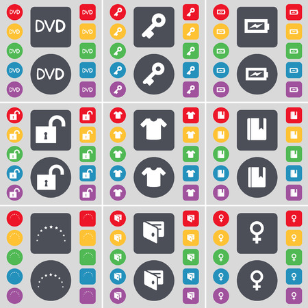 venus symbol: DVD, Key, Charging, Lock, T-Shirt, Dictionary, Star, Wallet, Venus symbol icon symbol. A large set of flat, colored buttons for your design. illustration