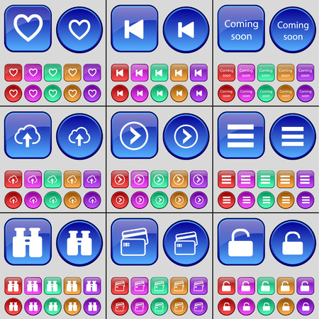 skip: Heart, Media skip, Coming soon, Cloud, Arrow right, Apps, Binoculars, Credit card, Lock. A large set of multi-colored buttons. illustration Stock Photo