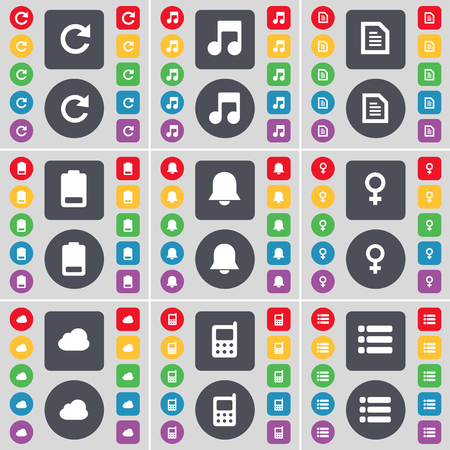 venus symbol: Reload, Note, Text file, Battery, Notification, Venus symbol, Cloud, Mobile phone, List icon symbol. A large set of flat, colored buttons for your design. illustration