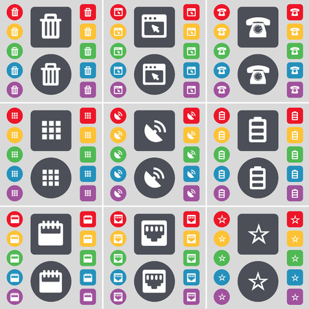 lan: Trash can, Window, Retro phone, Apps, Satellite dish, Battery, Calendar, LAN socket, Star icon symbol. A large set of flat, colored buttons for your design. illustration