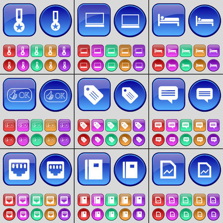 lan: Medal, Laptop, Bed, Like, Tag, Chat bubble, LAN socket, Notebook, Graph. A large set of multi-colored buttons. illustration Stock Photo
