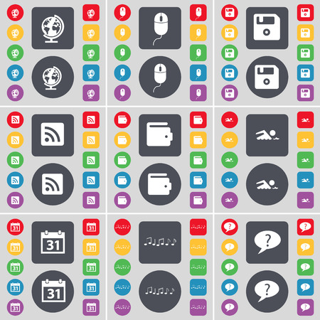 chat bubble icon: Globe, Mouse, Floppy, RSS, Wallet, Swimmer, Calendar, Note, Chat bubble icon symbol. A large set of flat, colored buttons for your design. illustration Stock Photo