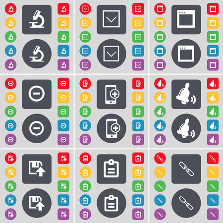 arrow down: Microscope, Arrow down, Window, Minus, Smartphone, Bell, Floppy, Suvey, Link icon symbol. A large set of flat, colored buttons for your design. illustration Stock Photo