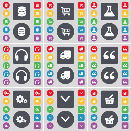 shopping card: Database, Shopping card, Flask, Headphones, Truck, Quotation mark, Gear, Arrow down, Basket icon symbol. A large set of flat, colored buttons for your design. illustration