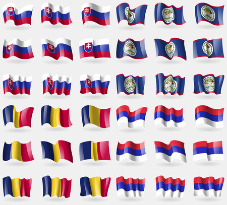 republika: slovakia, Belize, Chad, Republika Srpska. Set of 36 flags of the countries of the world. illustration