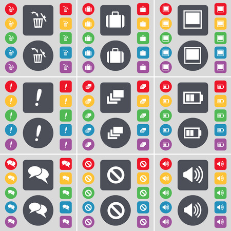 chat window: Trash can, Suitcase, Window, Exclamation mark, Gallery, Battery, Chat, Stop, Sound icon symbol. A large set of flat, colored buttons for your design. illustration Stock Photo
