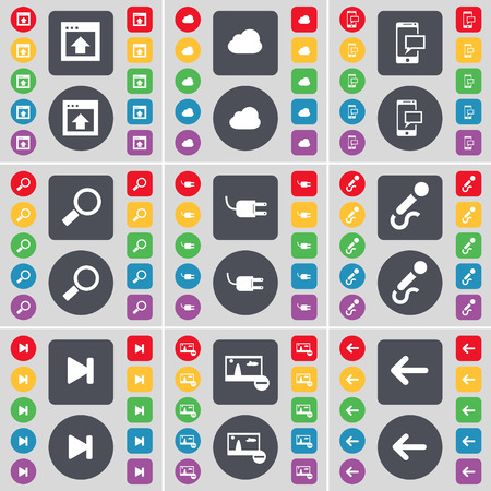 arrow left icon: Window, Cloud, SMS, Magnifying glass, Socket, Microphone, Media skip, Picture, Arrow left icon symbol. A large set of flat, colored buttons for your design. illustration