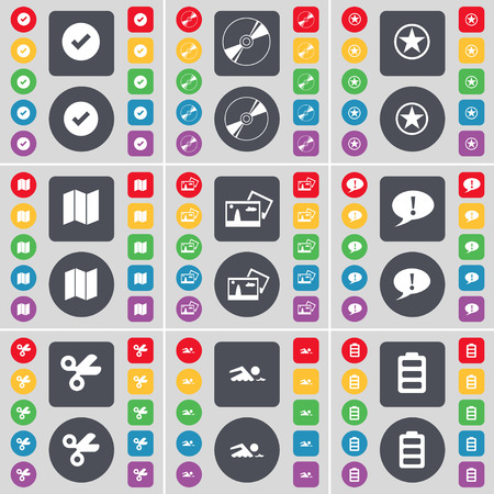 star map: Tick, Disk, Star, Map, Picture, Chat bubble, Scissors, Swimmer, Battery icon symbol. A large set of flat, colored buttons for your design. illustration Stock Photo