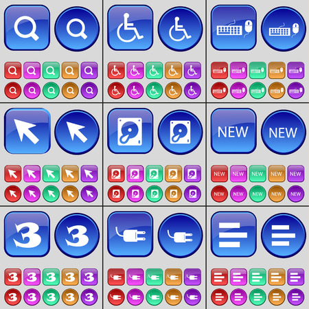 disabled person: Magnifying glass, Disabled person, Keboard, Cursor, Hard drive, New, Three, Socket, List. A large set of multi-colored buttons. illustration