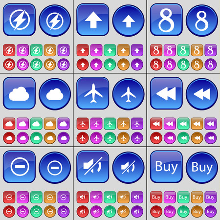 arrow up: Flash, Arrow up, Eight, Cloud, Airplane, Rewind, Minus, Mute, Buy. A large set of multi-colored buttons. illustration