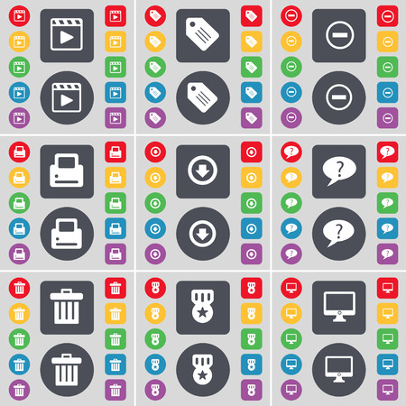 arrow down: Media player, Tag, Minus, Printer, Arrow down, Chat bubble, Trash can, Medal, Monitor icon symbol. A large set of flat, colored buttons for your design. illustration