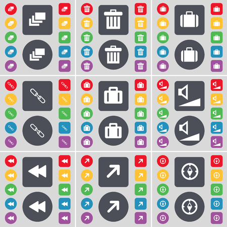 full screen: Gallery, Trash can, Suitcase, Link, Suitcase, Volume, Rewind, Full screen, Compass icon symbol. A large set of flat, colored buttons for your design. illustration Stock Photo