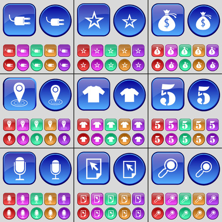 five star: Socket, Star, Money bag, Checkpoint, T-Shirt, Five, Microphone, Cursor, Magnifying glass. A large set of multi-colored buttons. illustration