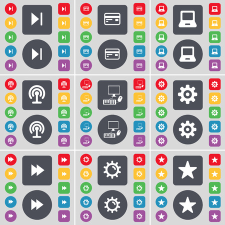 skip: Media skip, Credit card, Laptop, Wi-Fi, PC, Gear, Rewind, Star icon symbol. A large set of flat, colored buttons for your design. illustration
