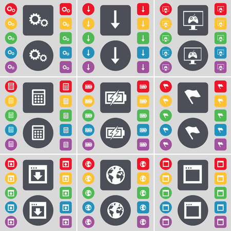 arrow down: Gear, Arrow down, Monitor, Calculator, Charging, Flag, Window, Earth, Window icon symbol. A large set of flat, colored buttons for your design. illustration Stock Photo
